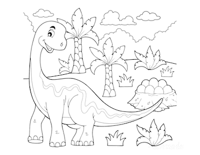Dinosaur Coloring Pages Cartoon Large Dino With Eggs