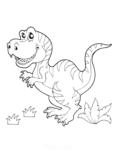 Dinosaur Coloring Pages Cartoon Megalosaurus Ferns