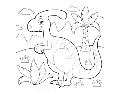 Dinosaur Coloring Pages Cartoon Parasaurolophus Ferns