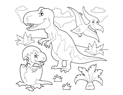 Dinosaur Coloring Pages Cartoon Prehistoric Scene
