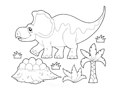 Dinosaur Coloring Pages Cartoon Protoceratops Nest of Eggs