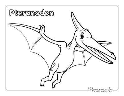 Dinosaur Coloring Pages Cartoon Pteranodon Flying