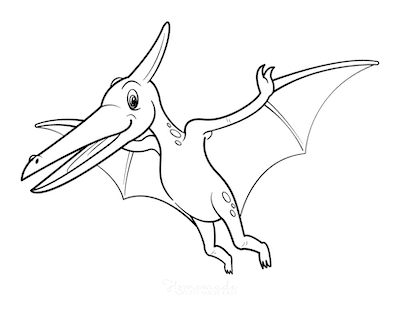Dinosaur Coloring Pages Cartoon Pteranodon Flying