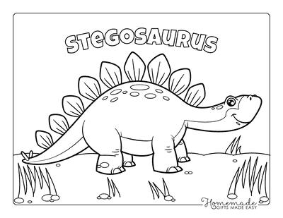 Dinosaur Coloring Pages Cartoon Stegosaurus