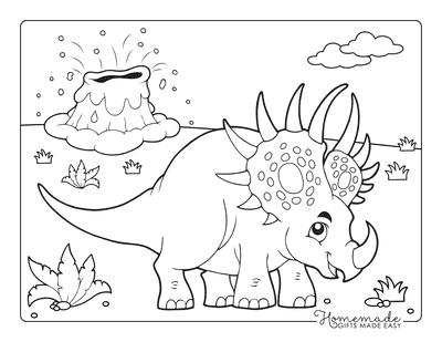 Dinosaur Coloring Pages Cartoon Styracosaurus Volcano