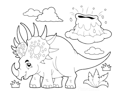 Dinosaur Coloring Pages Cartoon Styracosaurus Volcano