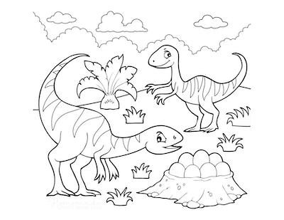 Dinosaur Coloring Pages Cartoon Theropods With Nest of Eggs