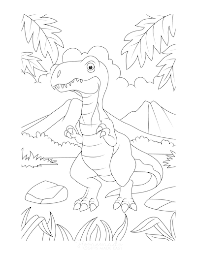 Dinosaur Coloring Pages Cartoon Tyrannosaurus Mountains Ferns