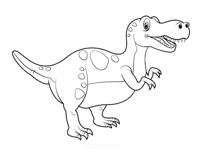 Dinosaur Coloring Pages Cartoon Tyrannosaurus Rex