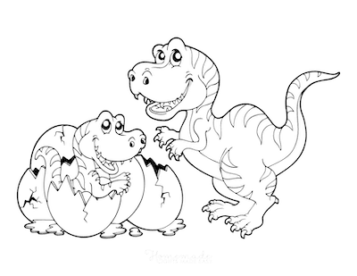 Dinosaur Coloring Pages Cartoon Tyrannosaurus With Egg Hatching Baby