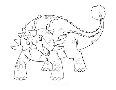 Dinosaur Coloring Pages Cute Ankylosaurus
