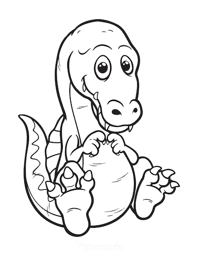 Dinosaur Coloring Pages Cute Baby Spinosaurus