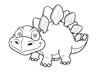 Dinosaur Coloring Pages Cute Cartoon Stegosaurus