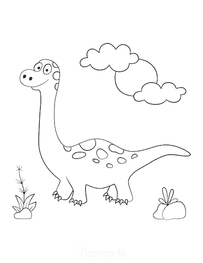 Dinosaur Coloring Pages Cute Dino Sunny Day for Preschoolers