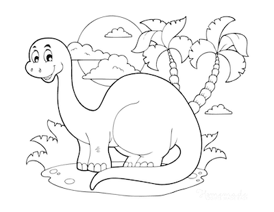 Dinosaur Coloring Pages Cute Dinosaur Scene for Preschoolers