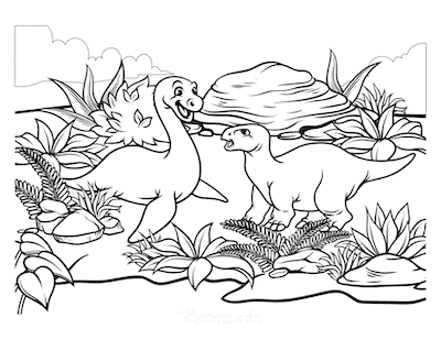 Dinosaur Coloring Pages Cute Dinosaur Scene With Ferns 2