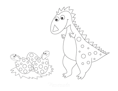Dinosaur Coloring Pages Cute Eggs Hatching With Mother Dinosaur