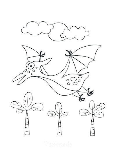 Dinosaur Coloring Pages Cute Pterodactyl Flying for Preschoolers