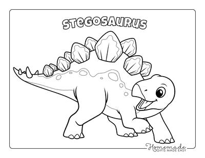 Dinosaur Coloring Pages Cute Stegosaurus 2