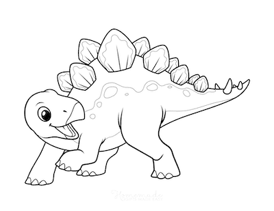 Dinosaur Coloring Pages Cute Stegosaurus 2