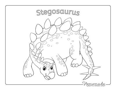 Dinosaur Coloring Pages Cute Stegosaurus