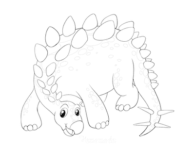 Dinosaur Coloring Pages Cute Stegosaurus