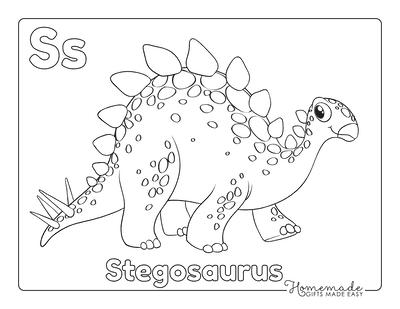 Dinosaur Coloring Pages Cute Stegosaurus for Preschoolers
