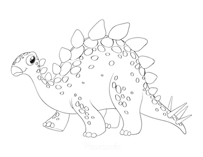Dinosaur Coloring Pages Cute Stegosaurus for Preschoolers