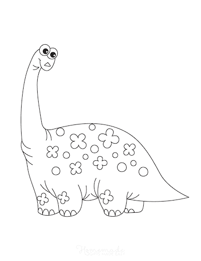 Dinosaur Coloring Pages Cute Tall Dinosaur With Flowers for Preschoolers