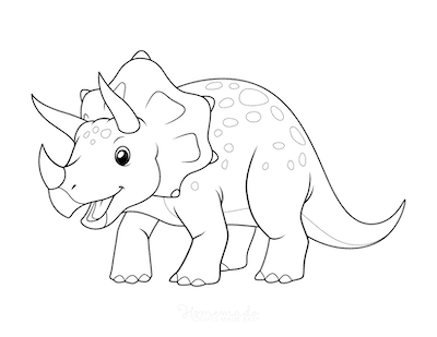 Dinosaur Coloring Pages Cute Triceratops