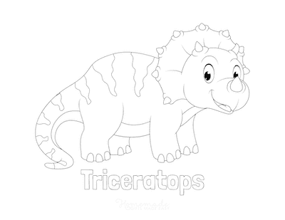 Dinosaur Coloring Pages Cute Triceratops for Kids