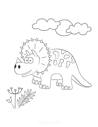 Dinosaur Coloring Pages Cute Triceratops for Preschoolers