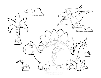 Dinosaur Coloring Pages Dinosaur Scene With Stegosaurus and Flying Dinosaur