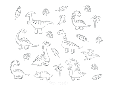 Dinosaur Coloring Pages Dinosaurs Leaves Trees to Color