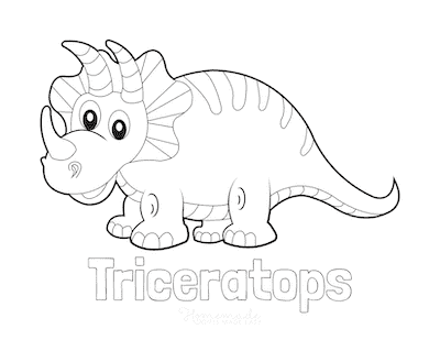 Dinosaur Coloring Pages Easy Triceratops for Preschoolers