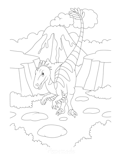 Dinosaur Coloring Pages Feathered Velociraptor Near Volcano