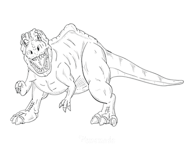 Dinosaur Coloring Pages Fierce Dinosaur Attack