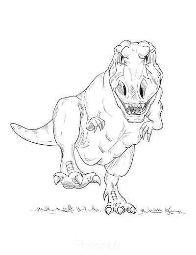 Dinosaur Coloring Pages Fierce Dinosaur Walking