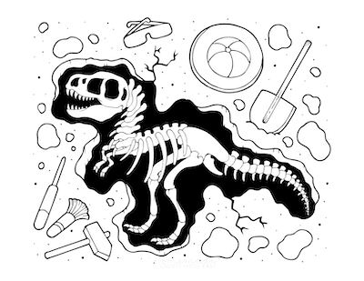 Dinosaur Coloring Pages Fossil Excavation