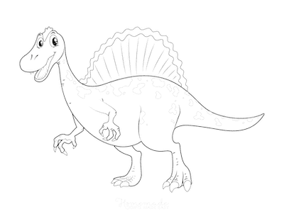 Dinosaur Coloring Pages Friendly Dinosaur With Sail