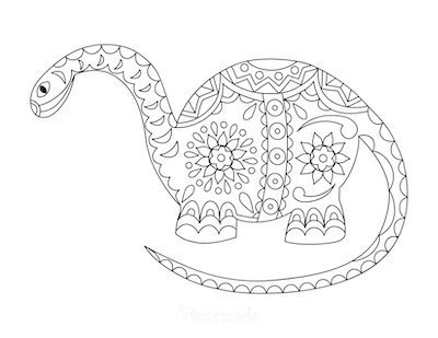 Dinosaur Coloring Pages Intricate Pattern Doodle for Adults