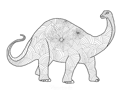 Dinosaur Coloring Pages Large Dinosaur Doodle for Adults