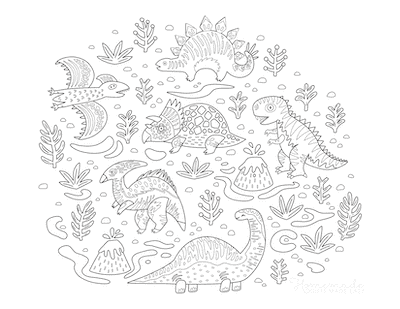 Dinosaur Coloring Pages Lots of Dinosaurs Volcano Plants Doodle