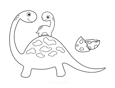 Dinosaur Coloring Pages Mom With Baby Dinosaur for Preschoolers