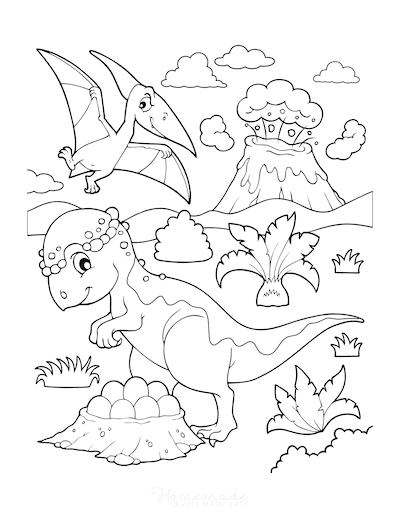 Dinosaur Coloring Pages Pachycephalosaurus With Nest