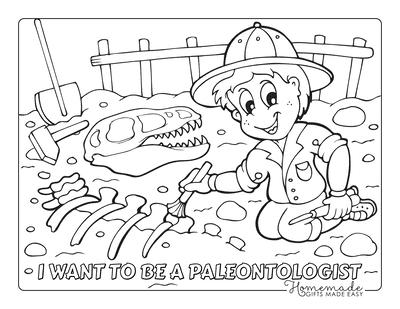 Dinosaur Coloring Pages Paleontologist Digging Dinosaur Fossil
