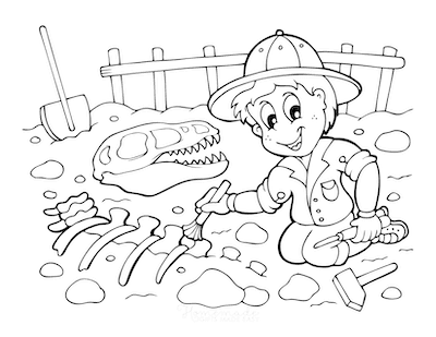 Dinosaur Coloring Pages Paleontologist Digging Dinosaur Fossil