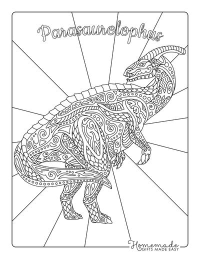 Dinosaur Coloring Pages Parasaurolophus Doodle for Adults