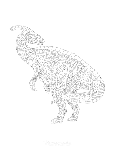 Dinosaur Coloring Pages Parasaurolophus Doodle for Adults