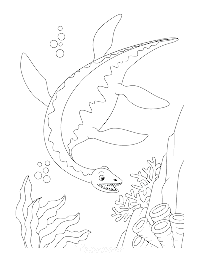 Dinosaur Coloring Pages Plesiosaurus Swimming Under Water